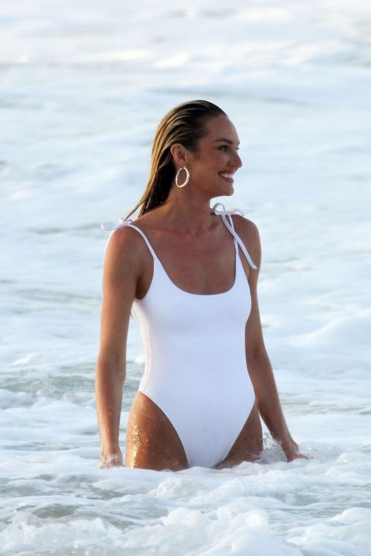 Pregnant CANDICE SWANEPOEL in Swimsuit at a Beach in Fernando De Noronha 12/17/2017