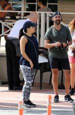 Pregnant EVA LONGORIA and Hose Baston Out in Miami 12/25/2017