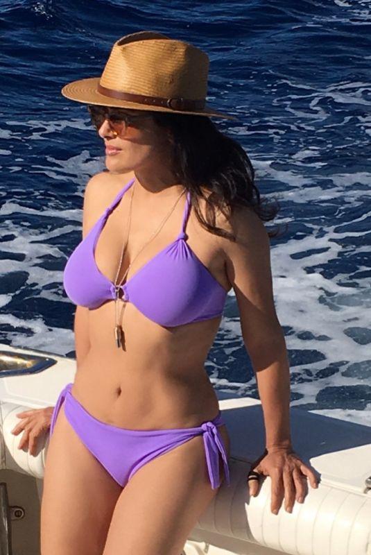 SALMA HAYEK in Bikini at a Boat, Instagram Picture, December 2017