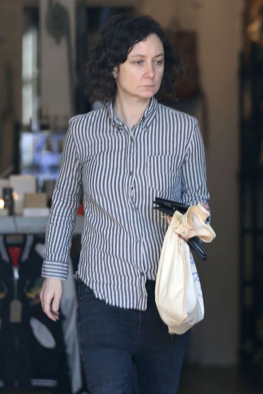 SARA GILBERT Out Shopping in Hollywood 12/22/2017