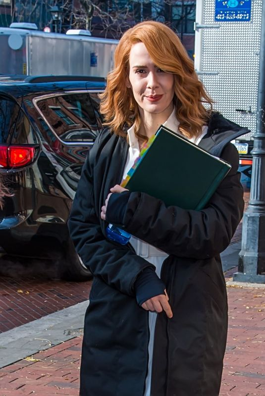 SARAH PAULSON on the Set of Glass in Philadelphia 12/04/2017