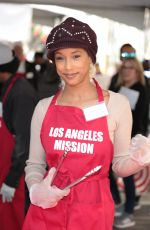 TRINA MCGEE at LA Mission Serves Christmas to the Homeless in Los Angeles 12/22/2017