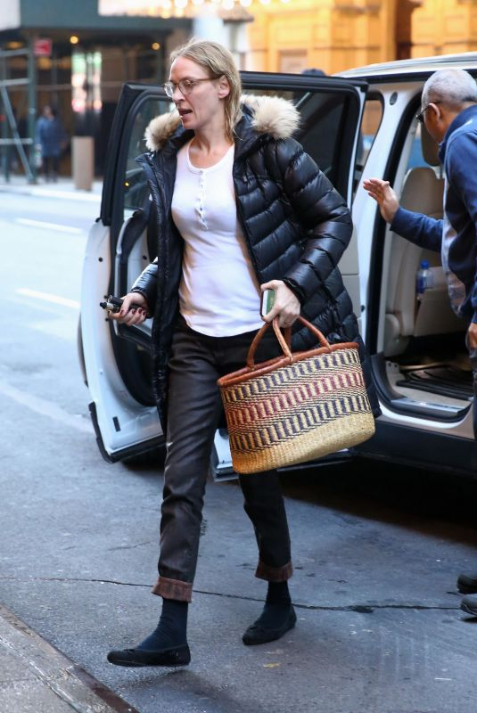 UMA THURMAN Arrives at at Her Matinee Performance of The Parisian Woman in New York 12/10/2017