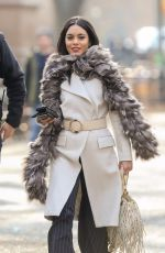 VANESSA HUDGENS on the Set of Second Act in New York 12/04/2017