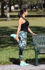 ANDREA CALLE Working Out at a Park in Los Angeles 01/10/2018