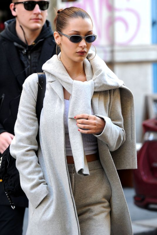 BELLA HADID at a Electronic Cigarette Store in Milan 01/13/2018