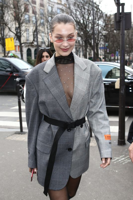 BELLA HADID Out and About in Paris 01/17/2018