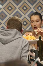 BELLA HADID Out for Pizza in Milan 01/15/2018