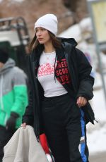 BELLA HADID Out Skiing in St Moritz 01/16/2018