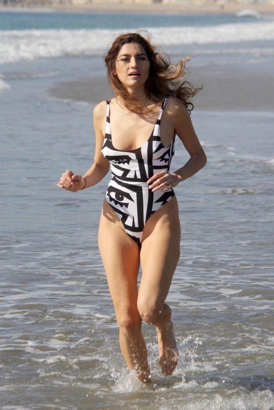 BLANCA BLANCO in Swimsuit Jogging at a Beach in Malibu 01/02/2018