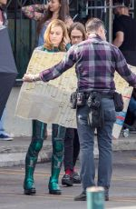 BRIE LARSON on the Set of Captain Marvel in Los Angeles 01/26/2018