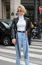 CAROLINE DAUR Arrives at Elie Saab Fashion Show in Paris 01/24/2018