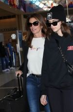 CINDY CRAWFORD and KAIA GERBER at LAX Airport in Los Angeles 01/18/2018