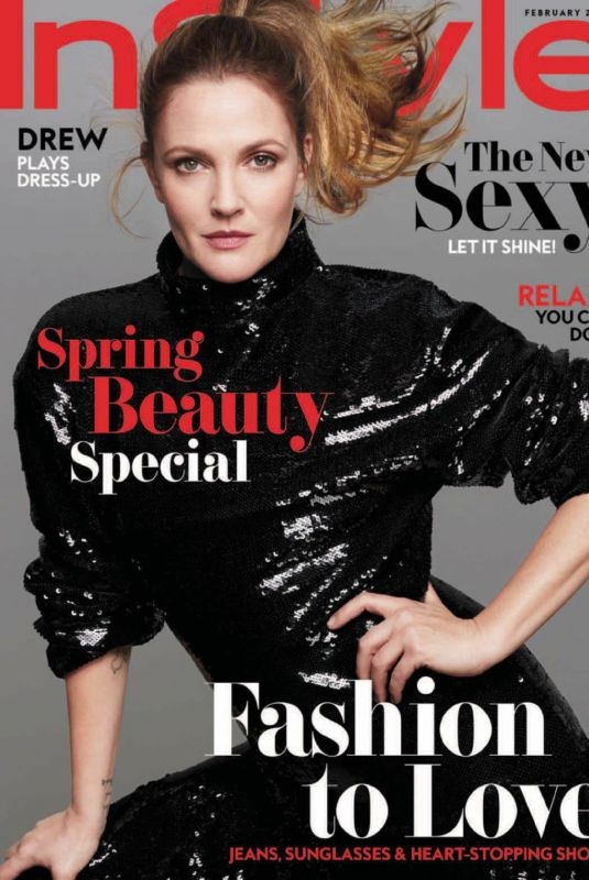 DREW BARRYMORE in Instyle Magazine, February 2018 Issue