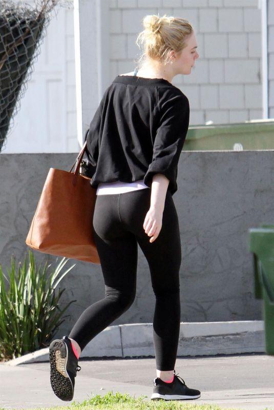 ELLE FANNING Arrives at Her Home in Los Angeles 01/05/2018