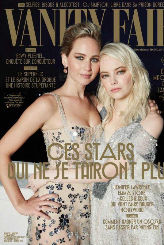 EMMA STONE and JENNIFER LAWRENCE in Vanity Fair Magazine, France February 2018