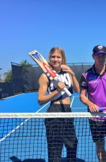 EUGENIE BOUCHARD at Hobart Hit with George Bailey in Hobart 01/07/2018