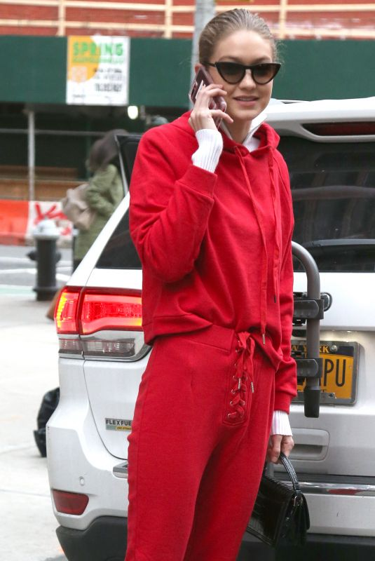 GIGI HADID All in Red Out in new York 01/30/2018