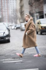 HAILEY BALDWIN in Oversized Coat and Slippers Out in New York 01/16/2018