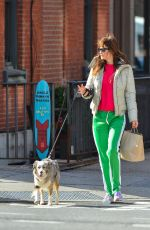 HELENA CHRISTENSEN Out with Her Dog in New York 01/28/2018