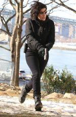 JAIMIE ALEXANDER on the Set of Blindspot in Astoria Park in New York 01/09/2018