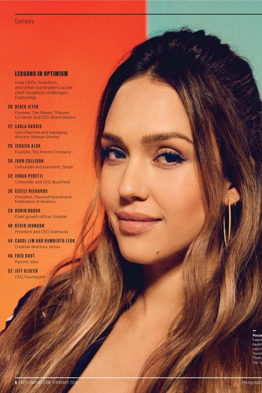 JESSICA ALBA in Fast Company, February 2018