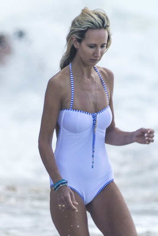 LADY VICTORIA HERVEY in a White Swimsuit on the Beach in Barbados 01/01/2018