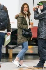 LILY COLLINS Arrives on the Set of Extremely Wicked, Shockingly Evil and Vile in Cincinnati 01/29/2018