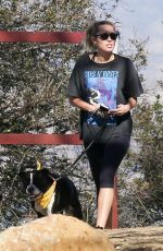 MILEY CYRUS Out Hiking with Her Dog in Studio City