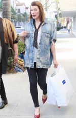 MILLA JOVOVICH Out and About in Beverly HIlls 01/17/2018