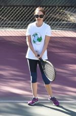 NATALIE PORTMAN at Tennis Workout in Los Angeles 01/24/2018