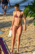 Pregnant CANDICE SWANEPOEL and DOUTZEN KROES in Bikinis at a Beach in Bahia 01/07/2018