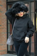 RITA ORA Leaves Bowery Hotel Wearing a Big Fur Hat in New York 01/30/2018