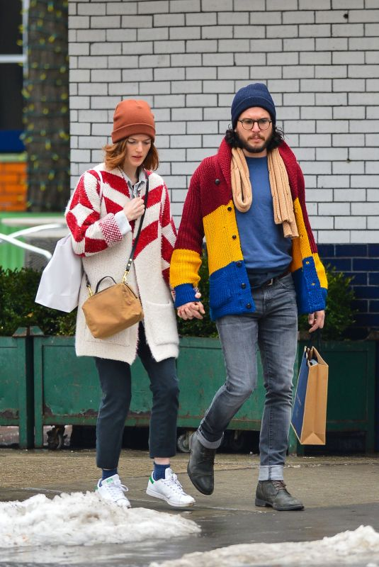 ROSE LESLIE and Kit Harington Out in New York 01/11/2018