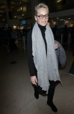 SHARON STONE at LAX Airport in Los Angeles 01/21/2018