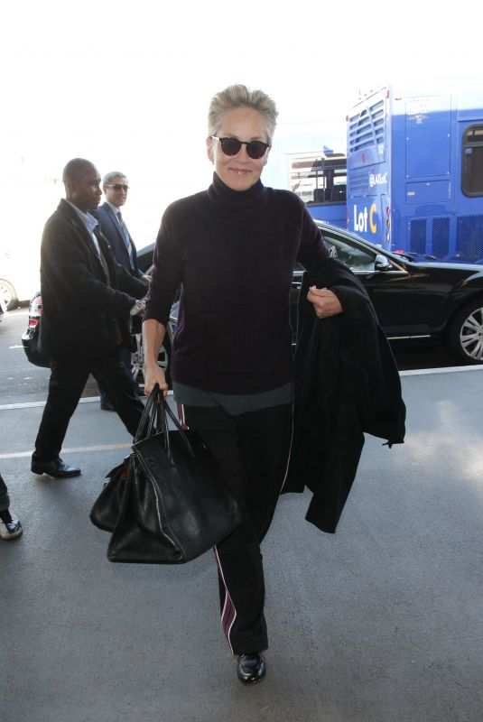 SHARON STONE at Los Angeles International Airport 01/12/2018