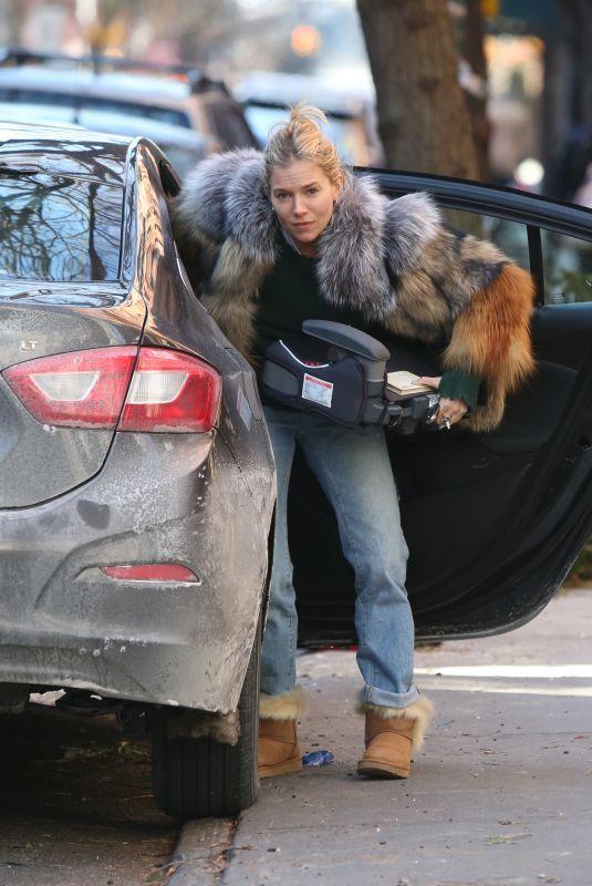 SIENNA MILLER Unloading Her Car in New York 01/14/2018