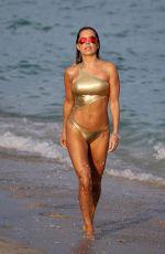 SYLVIE MEIS in Golden Bikini at a Beach in Miami 01/01/2017