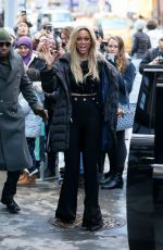TYRA BANKS Leaves Build Series in New York 01/09/2018