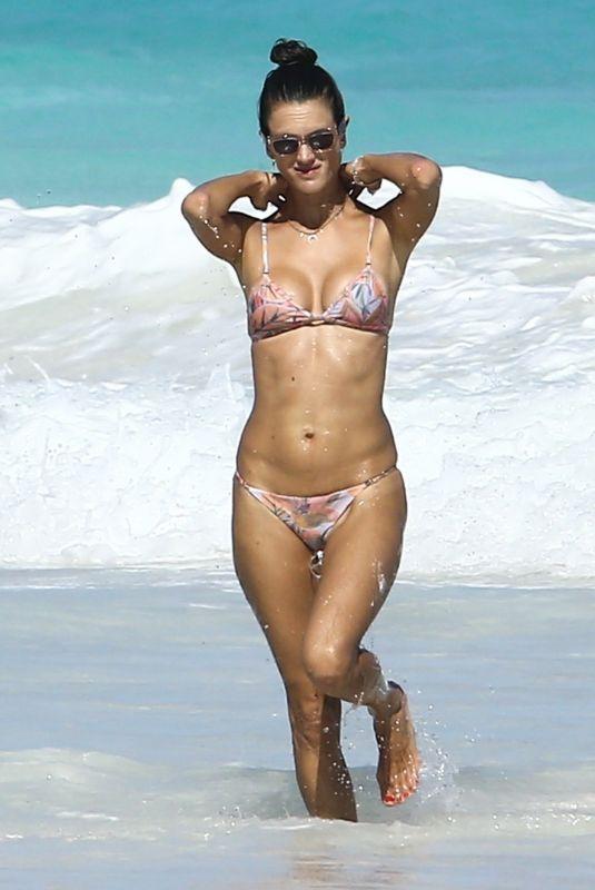 ALESSANDRA AMBROSIO in Bikini at a Beach in Bahamas 02/12/2018
