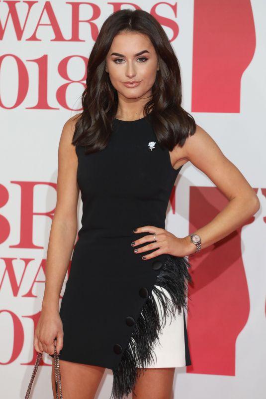 AMBER DAVIES at Brit Awards 2018 in London 02/21/2018