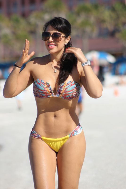 ANDREA CALLE in Bikini on the Beach in Miami 02/01/2018