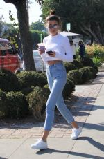 ANNA LITVA Out for Coffee on Melrose Place in West Hollywood 01/31/2018