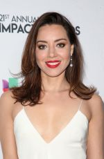 AUBREY PLAZA at 2018 National Hispanic Media Coalition Impact Swards in Beverly Hills 02/23/2018
