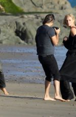 CHARLIZE THERON on the Set of a Photoshoot at Malibu Beach 02/16/2018