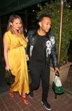 CHRISSY TEIGEN and John Legend at Madeo Restaurant in West Hollywood 02/01/2018