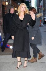 CLAIRE DANES Leaves Late Show with Stephen Colbert in New York 02/05/2018