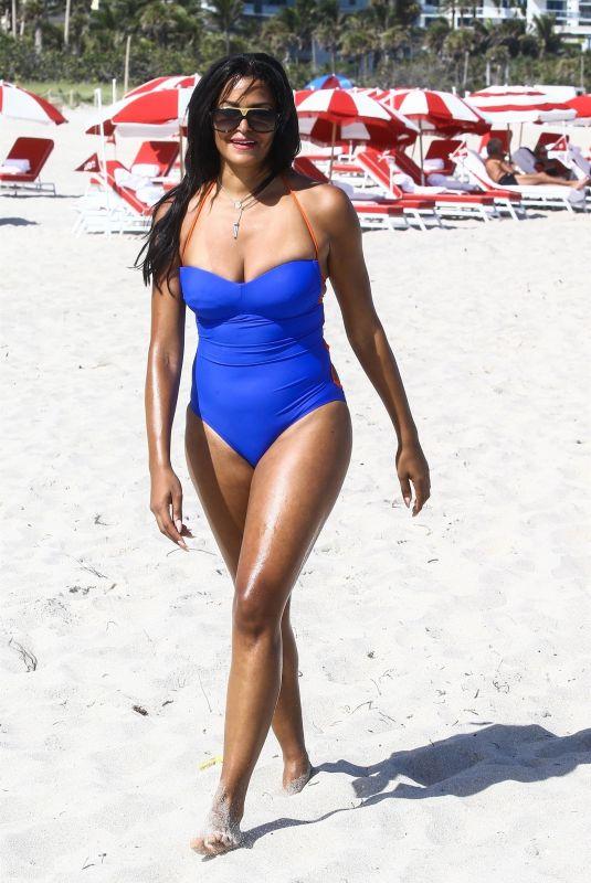 CLAUDIA JORDAN in Swimsuit on the Beach in Miami 02/13/2018