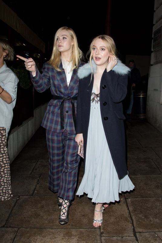 DAKOTA and ELLE FANNING Night Out in London 02/19/2018
