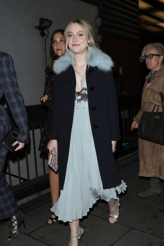 DAKOTA FANNING Arrives at Love and Miu Miu Women's Tales Party in London 02/19/2018